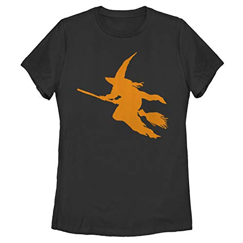 Women's Halloween Witch on a Broomstick Black T-Shirt