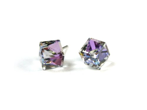 Swarovski Crystal Cube Austrian (Vitrail Light Lavender Tilted Cube Finest Austrian Crystal Stud Earrings, 6mm)