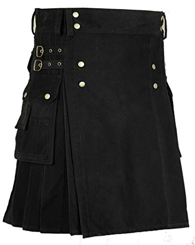 New Men's Scottish Utility Kilt Black 100% Cotton Custom Made Handmade Adult Kilt (38, Black Kilt)