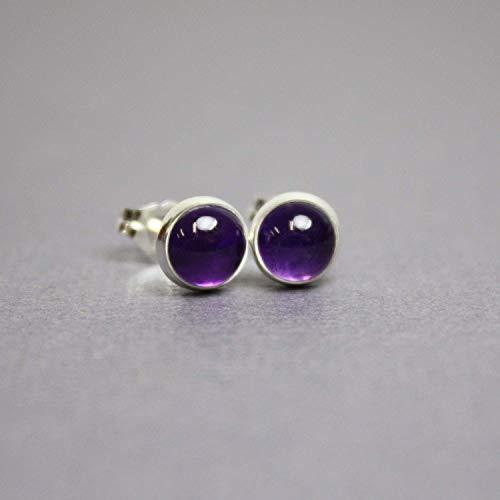 Amethyst Stud Earrings, Purple 6mm Sterling Silver Post Earrings