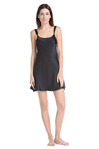 Fishers Finery Women's 100% Pure Mulberry Silk Chemise; Nightgown (Black, ()