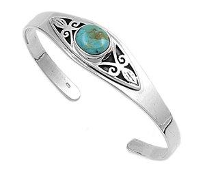 Petits Merveilles D'amour - Bracelet Manchette Femme - Argent Fin 925/1000 - Turquoise