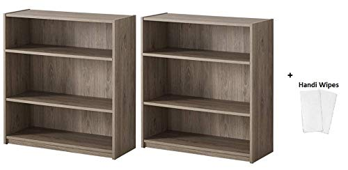 Mainstay.. Bookcase – Wide Bookshelf Storage Wood Furniture, (Rustic Oak + Handi Wipes, 3-Shelf (Set of 2)) Review