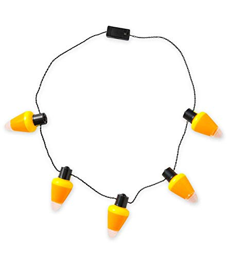 HearthSong® Halloween Light-Up Candy Corn Necklaces, Set of 3 - Multiple Light Settings - Novelty Costume Accessories - Approx. 28'' Long -