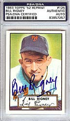 Bill Rigney Signed 1983 Topps 1952 Reprint Trading Card #125 New York Giants - PSA/DNA Authentication - Autographed MLB Baseball Cards from Sports Collectibles Online