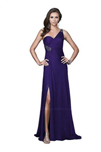 La Femme Women's One-Shoulder Solid Sleeveless Long Gown Dress, Majestic Purple, 6