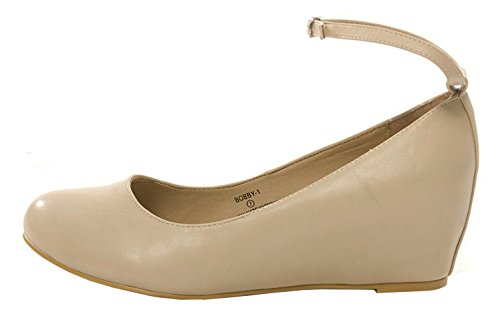 Chase & Chloe Femmes Strappy Mary Jane Wedge Plate-forme Pompe Nu Pu