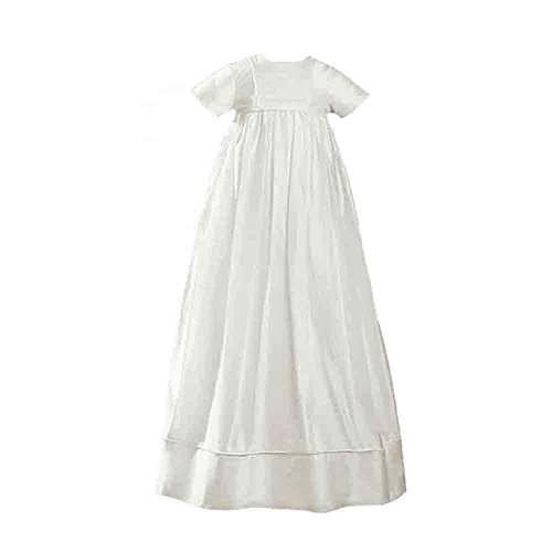 Girls White Short Sleeve Silk Dress Christening Baptism Gown with Pleated Bodice 6M