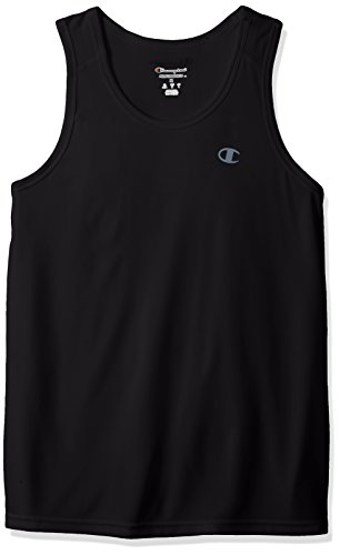 Champion Men's Vapor Tank Top With FreshIQ, Black Heather, L