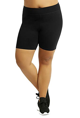 Women's Plus Size Cotton Bike Shorts - Black - 1X