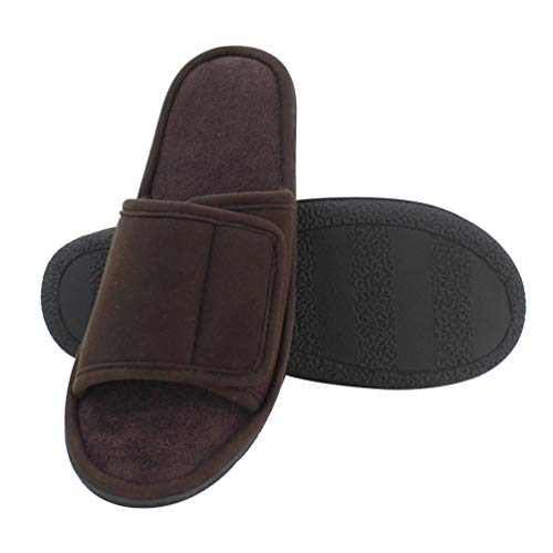Magtoe Men Washable Micro Suede Adjustable Memory Foam Home Open Toe Indoor Slippers (13-14 B(M) US/X-Large, Coffee)