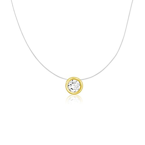 Pink Round Bezel Set (Gold Plated Sterling Silver Round Cut CZ White Pink Cubic Zirconia Bezel Set Solitaire Pendant Necklace)