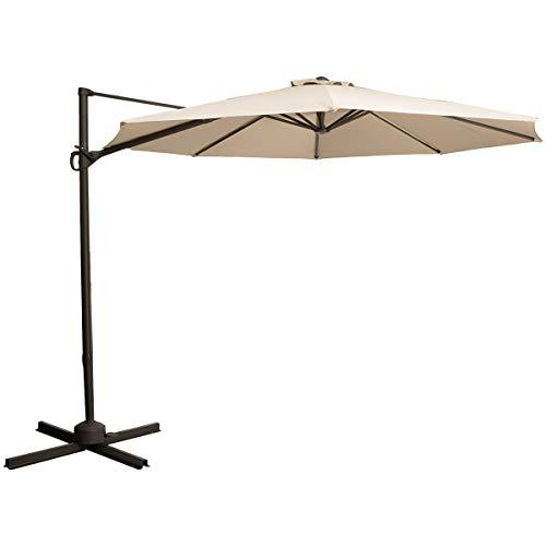 TAGI 10 feet Square Hanging Outdoor Umbrella, Eccentric Patio Umbrella, Infinite tilt, 8 Iron Ribs, rotatable, Beige