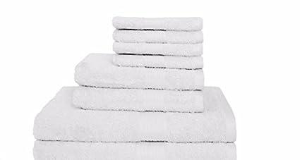 Toallas de baño de algodón egipcio, hotel collection|white, juego de 8 piezas