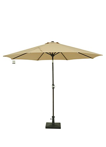 Sumbel Outdoor Living 10 Ft Round Bronze Aluminum Market Patio Umbrella With Push Button Tilt Crank   Khaki