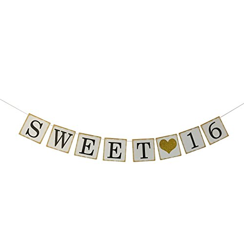 Sweet 16 Birthday Banner Gold Glitter – Sweet Sixteen Decorations, Party Favors, Supplies, Gifts, Themes and Ideas - Vintage Happy Birthday