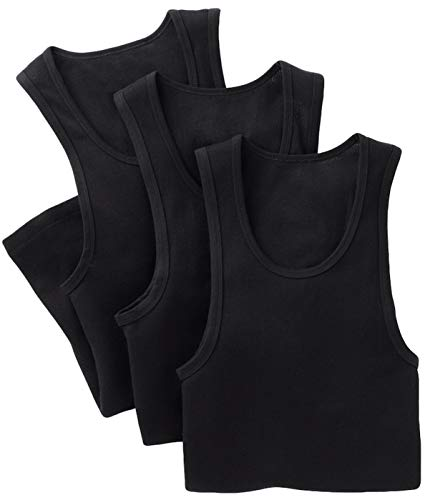 (ToBeInStyle Men's 3 Pack Slim Fit Long Length A-Shirts - Black - Medium)