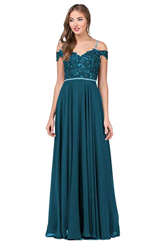 Nicefashion Women's Off The Shoulder Floor Length Evening Prom Dresses Beaded Lace Formal Gown Teal US2