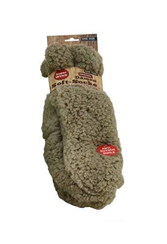 Unbekannt (4225B) Damen Soft-Socke braun, Kuschelsocke mit Teddy-Futter, super weiche Bettsocke, Hüttensocke, Wintersocke, ABS-Sohle