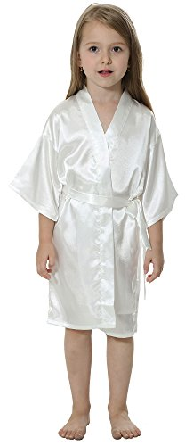 JOYTTON Kids' Satin Rayon Kimono Robe Bathrobe Nightgown (10,White) by JOYTTON