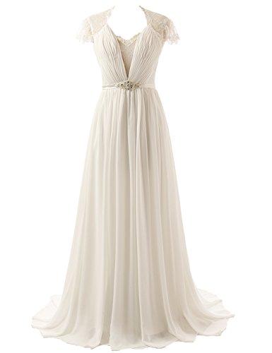 JAEDEN Chiffon Wedding Dresses Cap Sleeve Lace Bridal Gown Ivory ()