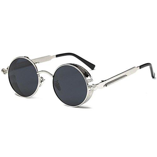 GAOLIXIA soleil Round lunettes Steampunk pour Mme rétro de Circle Réfléchissant Style de Argent soleil les Metal Polarized inspiré hommes lunettes 8FwUBn