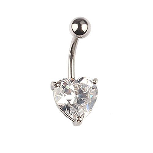 Start Crystal Rhinestone Ring Body Dangle Ball Belly Button Navel Ring (Heart)