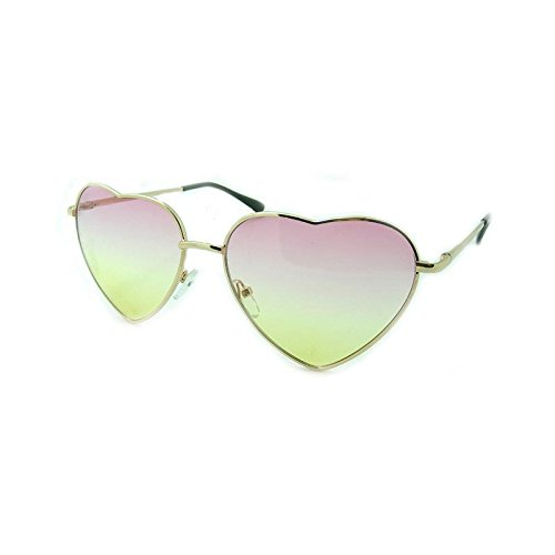 Red Yellow Stylish Women Heart Shape Designer Cat Eye Sunglasses - Female Eye Shapes
