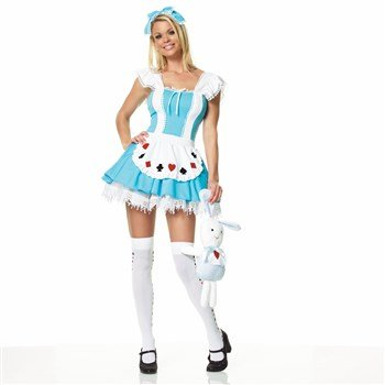 [Leg Avenue Women's Alice In Wonder Place Costume, Blue, Large] (Alice In Wonderland Costumes For Adults)