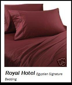 Royal Hotel's Solid Burgundy 600-Thread-Count 4pc California-King Bed Sheet Set 100-Percent Cotton, Sateen Solid, Deep Pocket