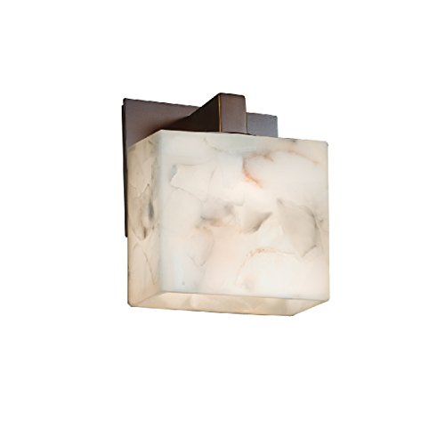Justice Design Group Lighting ALR-8931-55-DBRZ-LED1-700 Modular 1-Light Wall Sconce-Rectangle Shade-Alabaster Rocks-LED, Dark Bronze