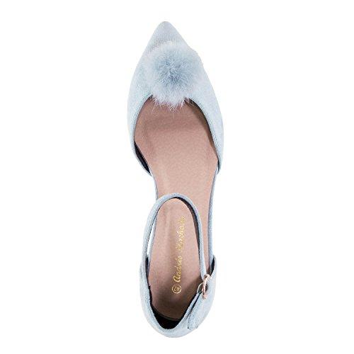 Andres Machado AM5274.Ballerines Pompon Suèdine.Pour Femmes.Grandes Pointures 42/45 Bleu