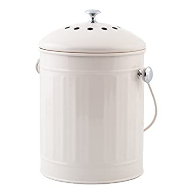 KC Bins 1.5 Gallon Kitchen Composting Bin w/ Filter: Indoor countertop compost pail with lid, handle and odor-absorbing filter; turn kitchen scraps into organic garden food!