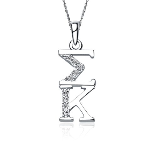 Sigma Kappa Vertical Silver Necklace with a 18 Silver Chain SK-P001