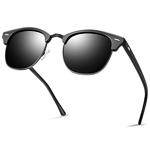 Semi Rimless Polarized Sunglasses for Women Men, Unisex Sunglasses with Half Frame - Shiny ()