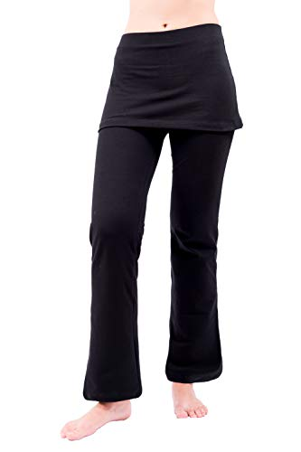 NIRLON Skirted Yoga Pants Tummy Control Skort Athletic Gathered Skirt Boot Leg Leggings Black