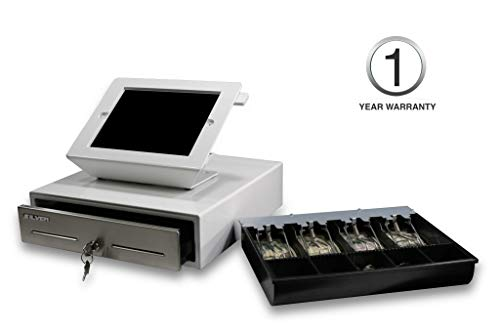 SILVER by AccuBANKER POS Kit Bundle (White) - SCD10 POS Cash Drawer 13' x 13' 4 Bill 5 Coin 2 Media...