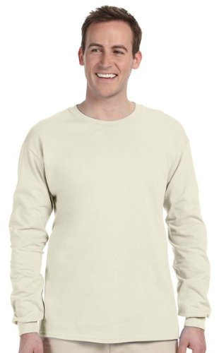 Gildan 2400 - Classic Fit Adult Long Sleeve T-shirt Ultra Cotton - First Quality - Natural - Large Classic Long Sleeve Pullover