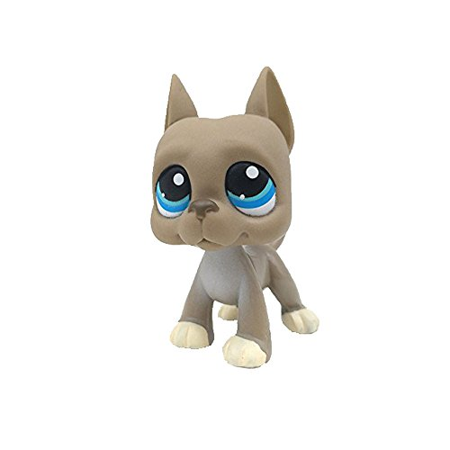 Store Child Girl Figure Toy Loose Cute Pet Shop LPS Gray Big Dog Great Blue Eyes # 184 Gift for boy Girl (Gray) -