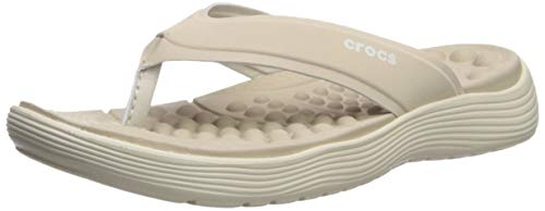 Crocs Women's Reviva Flip Flop, Cobblestone/Stucco, 7 M US