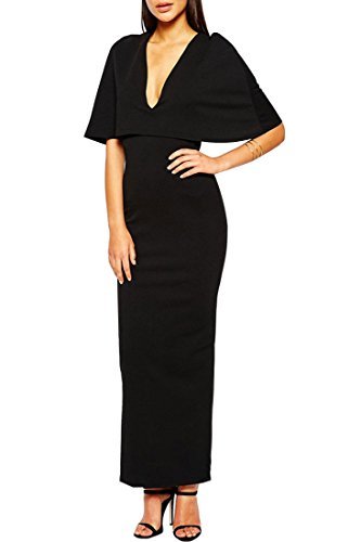 Azbro Maxi Vestido Negro Top De Capa Cuello V Profundo Black