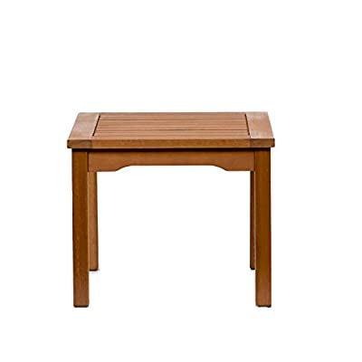 Amazonia Rome Square and Durable Side Table | Eucalyptus Wood | Ideal for Outdoors and Indoors, 20 x 20 - [Side Table] High quality certified Eucalyptus side table in a rich wood-brown color. This bench will make your outdoors an elegant space to enjoy with family and friends [Dimensions & Weight] 1 Side Table 19L x 19W x 17H [Sturdy & Durable Design] Amazonia products can be left outside throughout the year and can withstand all types of weather, but it is recommended that they are treated with a wood sealer oil to maintain the golden-reddish finish - patio-tables, patio-furniture, patio - 31 MWmF9qAL. SS400  -