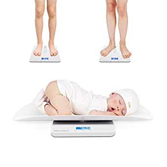 Baby Scale Multi-Function Toddler Scale Baby Scale Digital Pet Scale Infant Scale with Hold Function Blue Backlight Weight(Max: 220 Pound) and Height Track (Max: 24inch)