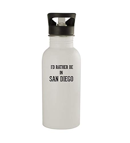 Knick Knack Gifts I'd Rather Be in SAN Diego - 20oz Sturdy Stainless Steel Water Bottle, White