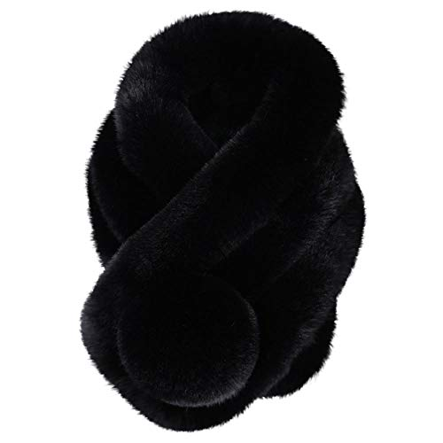 - AutumnFall Faux Fur Scarf for Women Winter 2018 Fashion Thicken Knitted Female Scarves Collar Warm Neck Fur Imitation Fur Grass Pompoms (Black)