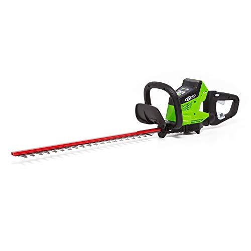 Greenworks HT40L00 Brushless Cordless Hedge Trimmer, 24″ Battery Not Included, Black/Green (Renewed)