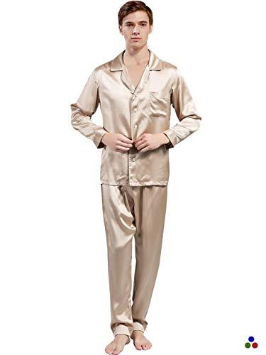 Pijama Ropa Chic 100 Seda Pijamas Momme Y Hombres Los De Cappuccino Primavera Otoño w4PUqC