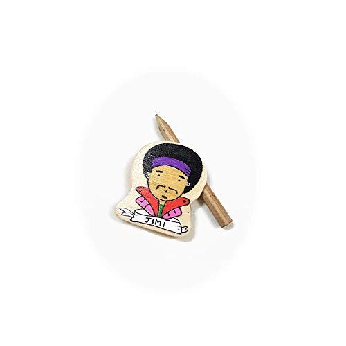 CreoErgoSum Handmade Wooden Craft Pin Jimi Hendrix Experience Cute Chibi Retro 60s Hippie