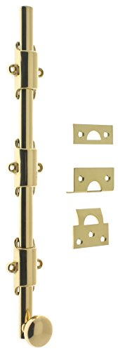 Professional Grade Quality Genuine Solid Brass 18'' Heavy Duty Surface Bolt With Round Knob by idh (Polished Brass No Lacquer)