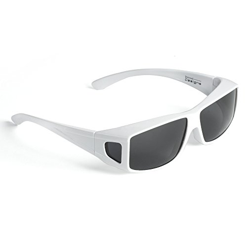 Eyewear Cocoons - Over Glasses Sunglasses- Polarized Fitover Sunglasses For Men or Women with 100% UV Protection- Style 2 by Pointed Designs (White)